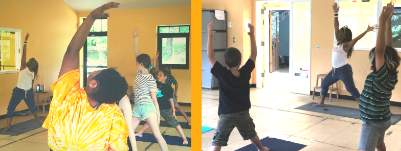Daniele Martin leads campers in yoga at Asheville Creative Arts' summer camp 2019